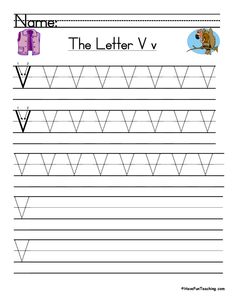 UsingLetter V Handwriting Practice Worksheet, students trace and then write the letter V in order build their Zaner-Bloser style print handwriting skills. Handwriting Practice Worksheets, Print Handwriting, Teaching Handwriting, Teaching The Alphabet, Consonant Blends Worksheets, Letter Worksheets, Kindergarten Worksheets, Writing Words, Writing Skills