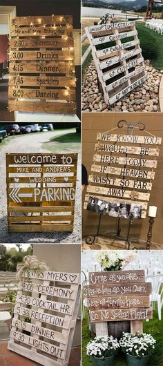 "24 DIY Country Wedding Ideas with Pallets to Save Budget - EmmaLovesWeddings - DIY wooden pallets country wedding signs "" DIY wooden pallets country wedding signs Best Picture - Wedding On A Budget, Wedding Planning, Budget Bride, Dream Wedding, Wedding Day, Wedding Parties, Perfect Wedding, Wedding Advice, Wedding Photos"