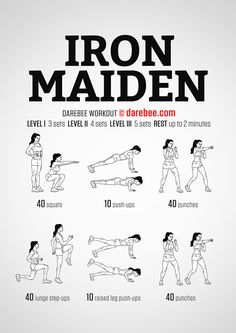 Workout of the Day: Iron Maiden Upper Body Workout For Women, Workout Routines For Women, Workout Plan For Women, At Home Workout Plan, Hero Workouts, Gym Workouts, Studio Workouts, Wod Workout, Kickboxing Workout