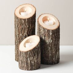 Tree Branch Candle Holders Set of 3 Heights Angled- Rustic Wood Candle Holders…