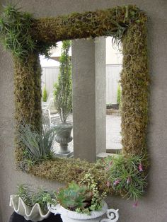 Moss covered mirror for outside porch