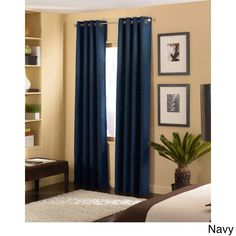 Cameron Luxe Microsuede Grommet Curtain Panel (108 inch - Navy - 34.99), Blue, Size 50 x 108 (Polyester, Solid)