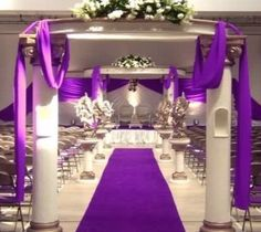 use the extra fabric from the aisle runner for decoration on the pillars!