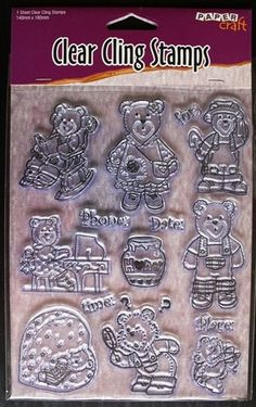 NEW Clear Cling Stamps J6422.08 Teddy Bear Invitations Scrapbooking Card Making