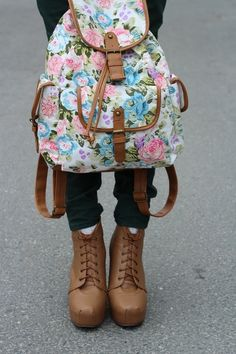 Floral bag and brown lace up booties