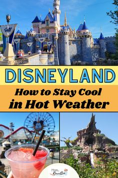 What to do when the weather at Disneyland soars over 90 degrees? The California theme parks can be unbearable in the heat but there are some great tips on how to beat the heat including ideas on scheduling a hot weather itinerary and which rides or attractions to visit in the hottest parts of the day. Find out what to pack in your Disney day bag to stay cool, where to dine with air conditioning and which local hotels offer the best water parks and swimming pools. Tons of Disneyland travel tips! Disneyland Secrets, Disneyland Outfits, Disneyland Restaurants, Disneyland Resort, Visit California, California Travel, Local Hotels, Water Parks, Disney Day