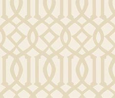 Trellis tan and white fabric by theperfectnursery on Spoonflower - custom fabric