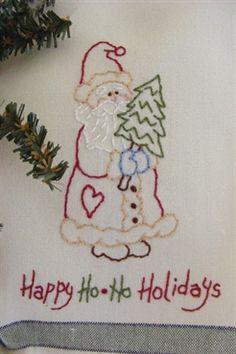 Embroider A Cute Free Santa Design - Happy Ho*Ho Holiday Tea Towel