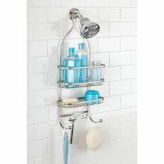 Rebrilliant This Shower Caddy brings classic American style to your shower space. Its two shelves can accommodate larger bottles and have hooks for towels, loofahs, and brushes. Under Shelf Basket, Basket Shelves, Baskets, Tabletop, Hanging Shower Caddy, Shower Caddy Dorm, Shower Caddies, College Bathroom, Basement Bathroom