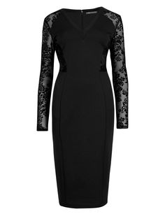 M&S Black V-neck Shift Support Bodycon Lace Sleeve Cocktail Party Dress Lace Sleeves, High Neck Dress, Bodycon Dress, V Neck, Classy Outfits, Formal Dresses, Party Dress, How To Wear, Cocktail