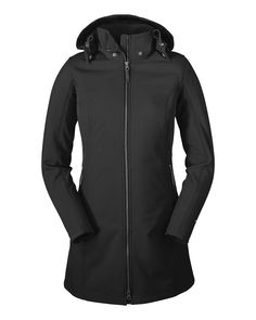 eddie bauer women's windfoil elite soft shell trench in black with water repellent dwr finish