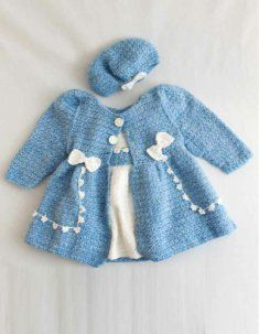 PA994 Bon Bon Dress & Jacket Set Crochet Pattern.  When you're looking for that special crochet outfit for your little princess this gorgeous crochet pattern by Donna Collinsworth is perfect for the occasion. Bon Bon Dress & Jacket Set Crochet Pattern features a dainty crochet dress and matching crocheted coat with a delicate flower trim on both crochet garments.