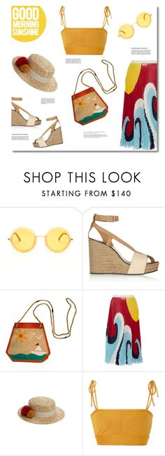 """isle of capri"" by tartlet ❤ liked on Polyvore featuring Linda Farrow, See by Chloé, Bottega Veneta, RED Valentino, Eugenia Kim, Made By Dawn, Summer, croptop, beach and pleats"