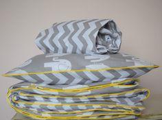 100%COTTON Cot Bed Duvet Cover Set & Fitted Sheet Grey Chevron Elephants nursery | eBay