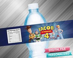 Toy Story 4 Birthday Water Bottle Label - PrintDParty Selling Birthday Invitation and Printable Party Decoration Digital File. Toy Story Invitations, Printable Birthday Invitations, 4th Birthday Parties, Special Birthday, Printable Labels, Party Printables, Waterproof Labels, 100 Fun, Water Bottle Labels