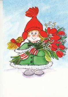 Virpi Pekkala Christmas Graphics, Christmas Art, Christmas Greetings, Humor Grafico, Winter Art, Whimsical Art, Cute Illustration, Illustrations, Kids Playing