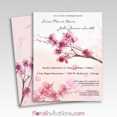 Watercolor Pink Hibiscus Wedding Shower Invitations (Couples Shower) - Floral Invitations