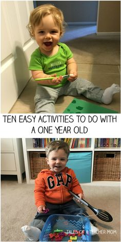 Ten Easy Activities To Do With a One Year Old – Tales of a Teacher Mom - Kinderspiele Toddler Play, Baby Play, Toddler Stuff, Infant Activities, Activities For Kids, 1year Old Activities, Airplane Activities, Diy Projects To Do With Toddlers, Activity Ideas