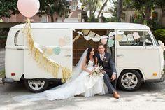 Wedding day, bride and groom, VW, vintage wedding, Epping Forest Yacht Club