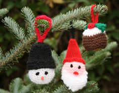 "Ferrero Rocher Christmas Cosies and Tree Decorations. ""A Kid's Company Fundraiser Pattern by Tess Young"" Christmas ornaments knitting patterns for Santa, Snowman with a hat and Christmas Pudding. Crochet Christmas Trees, Christmas Knitting Patterns, Christmas Ornaments To Make, Christmas Makes, Christmas Hat, Knitting Patterns Free, Free Knitting, Christmas Crafts, Christmas Ideas"