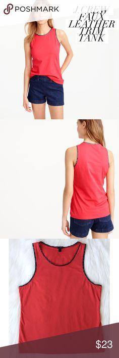 """{j. crew} scalloped faux leather trim tank An edgy yet feminine take on the classic tank top featuring faux-leather scalloped trim, slightly loose fit and a darling strawberry red color. Perfect summer-to-fall transition piece that can be dressed up or down.   ʙᴇᴀᴜᴛɪғᴜʟ ᴘʀᴇ-ʟᴏᴠᴇᴅ ᴄᴏɴᴅɪᴛɪᴏɴ • ɴᴏ sɪɢɴs ᴏғ ᴡᴇᴀʀ ᴍᴀᴛᴇʀɪᴀʟs • 100% ᴄᴏᴛᴛᴏɴ ᴄᴏʟᴏʀ • sᴛʀᴀᴡʙᴇʀʀʏ ʀᴇᴅ/ʙʟᴀᴄᴋ sᴛʏʟᴇ • ғ1668  ᴍᴇᴀsᴜʀᴇᴍᴇɴᴛs :: ғʟᴀᴛ ʟᴇɴɢᴛʜ • 25.25"""" ᴄʜᴇsᴛ • 19"""" sᴛʀᴀᴘ ʟᴇɴɢᴛʜ • 1.5"""" ᴀʀᴍ ᴏᴘᴇɴɪɴɢ • 10"""" J. Crew Tops Tank Tops"""