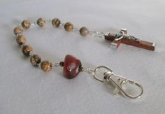 Catholic Rosary Keyring with Picture Jasper by AwfyBrawJewellery