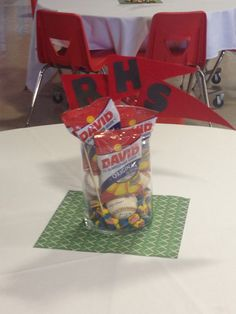 This wb cute to put wedding date, names, etc., on pennants for centerpieces. Variation: use pkgs cracker jacks or peanuts in shell.