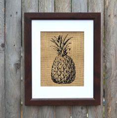 A symbol of welcome and hospitality, this is the perfect rustic print for the mudroom- Pineapple print on burlap by Fiber and Water | burlap art for the living room, dining room, kitchen, front room