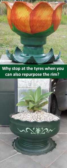 flower planters made from old tires and the rim Tire Planters, Flower Planters, Flower Pots, Garden Crafts, Garden Projects, Reuse Old Tires, Recycled Tires, Tire Craft, Tire Garden