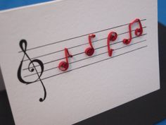 Quilled music notes card