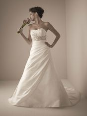 Silhouette: A-Line Neckline: Scoop Hemline/Train: Chapel Train Fabric: Satin Embellishment: Beading Straps: Strapless Sleeve: Sleeveless Back Style: Zipper Up with Button Chain Waist Line: Empire $243.00 (http://www.illusionbridals.com/a-line-scoop-chapel-train-9443/)