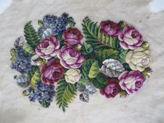 Gorgeous Antique Beaded Needlepoint Floral Canvas Piece w Raised Flowers | eBay
