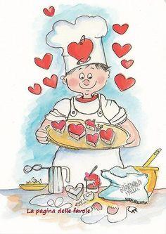 Thema bakker: afbeelding 'Baked with love' Vintage Valentines, Be My Valentine, Valentine Cookies, Food Illustrations, Illustration Art, Clip Art, Tea Art, Le Chef, Whimsical Art