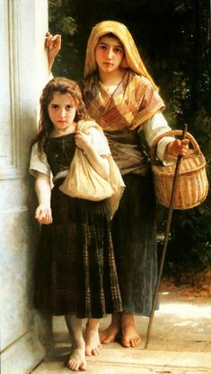 """Les Petites Mendicantes (The Little Beggar Girls), William Adolphe Bouguereau. """"And I love taking money off a snob like you, 'Cause I'm only a poor little beggar girl. William Adolphe Bouguereau, Beaux Arts Paris, Munier, Classical Art, Fine Art, Beautiful Paintings, Romantic Paintings, Figure Painting, Painting Art"""