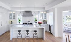 Benjamin Moore Super White OC-152. Kitchen cabinets, walls and ceiling paint color is Benjamin Moore Super White OC-152.…