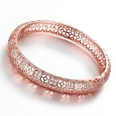 Christmas GiftDilanco 18K Rose Gold Plated MultiGemstone Hollow Bangle Bracelets for Women ** Read more at the image link.