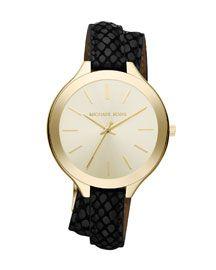 Michael Kors Michael Kors Slim Embossed-Leather Brass Runway Watch