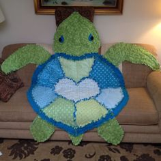 Blue and Green Turtle Rag Quilt! This would make a cute baby quilt ... : turtle rag quilt - Adamdwight.com