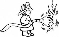 Bombero apagando el fuego. Personaje para imprimir, descargar, pintar, decorar.