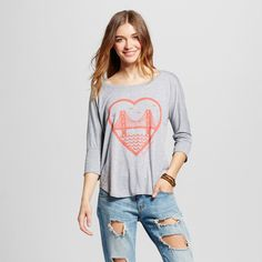 Women's San Francisco Local Pride Heart Top Xxl - Heather Gray (Juniors')