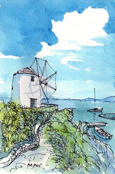 Paros Windmühle, Griechenland, Kunstdruck Aquarell, Zeichnung, signiert Title: Paros Windmill This is the archival art print of my original pen and watercolor drawing. Printed on high quality a Pen And Watercolor, Watercolor Landscape, Watercolor Illustration, Landscape Paintings, Watercolor Paintings, Watercolors, Painting & Drawing, Art Sketches, Art Drawings