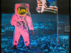 'Moonwalk 1' by Andy Warhol, 1987 (silkscreen on paper)  The famous image of astronaut Buzz Aldrin standing on the Moon has become an icon of popular culture. The American hero with the U.S. flag became material for Warhol's silkscreen series of nationally known images printed on vibrant, retro, poster colors.