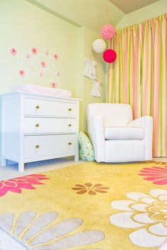 our baby girl s custom pink and green nursery decor in stripes