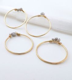 Raw Diamond Gold Stacking Rings - Set of 4 | These stacking rings are handcrafted from hammered 14k gold-fi... | Rings