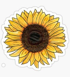 decorate shop An original illustration of a sunflower, made using Spectrum Noir pro markers and black fine liners. / Find a pin of this design here: Millions of unique designs by indep Bubble Stickers, Phone Stickers, Journal Stickers, Cool Stickers, Printable Stickers, Homemade Stickers, Aesthetic Stickers, Sticker Design, Cute Wallpapers