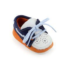 Paul Smith Junior Chaussures bateau en cuir bleu marine et orange N/C - 30761 | Melijoe.com