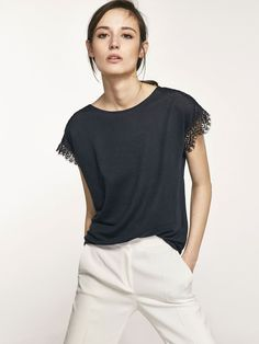 Autumn Spring summer 2017 Women´s T-SHIRT WITH LACE TRIM ON SHOULDER AND SLEEVES at Massimo Dutti for 39.5. Effortless elegance!