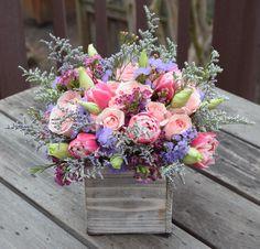 Flower gift box crafted by Fleurelity. Happy Birthday Flower Bouquet, Flower Bouquet Boxes, Local Florist, Floral Arrangements, Flower Arrangement, Flower Delivery, Pretty Flowers, Wedding Flowers, Floral Wreath