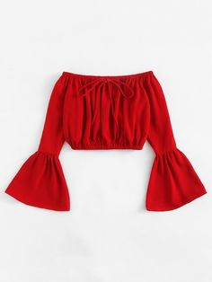 Shop Off Shoulder Fluted Sleeve Drawstring Crop Top online. SheIn offers Off Shoulder Fluted Sleeve Drawstring Crop Top & more to fit your fashionable needs. Teen Fashion Outfits, Mode Outfits, Trendy Outfits, Girl Fashion, Girl Outfits, Summer Outfits, Fashion Dresses, Dance Outfits, Fashion Spring
