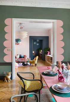 Adorable Home - Bright and colorful apartment in Sweden m²). Room Inspiration, Interior Inspiration, Interior Ideas, Design Inspiration, Murs Roses, Colorful Apartment, Interior Decorating, Interior Design, Cosy Interior